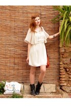 gold H&M necklace - dark brown Coolway boots - yellow E-Vie dress