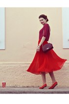 red Oasis skirt - ruby red Stradivarius bag - brick red Bershka blouse