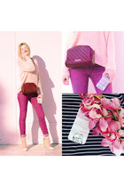 magenta SIMILAR jeans - light pink SIMILAR sweater - ruby red SIMILAR bag