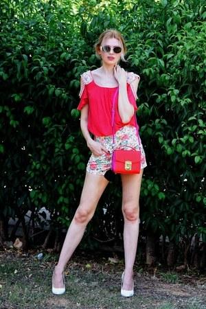 red Trussardi Jeans bag - white BAZZR shorts - black LUXUSEYES sunglasses
