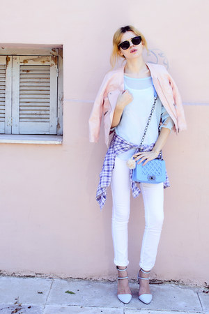 white SIMILAR jeans - light pink SIMILAR jacket - light blue New Dress sweater