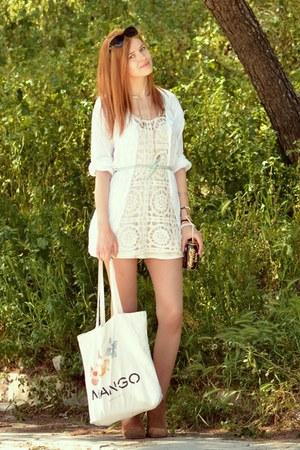 brown Tally Weijl boots - beige H&M dress - white I&D COLORS shirt