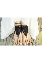 Sexy black barefoot sandals - crochet beach party