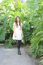 black Steve Madden boots - ivory H&M dress