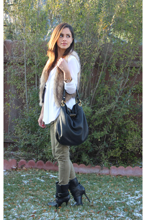 tan H&M vest - black Report Signature boots - black Marc by Marc Jacobs bag