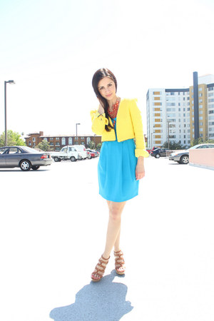yellow Zara blazer - blue Forever 21 dress