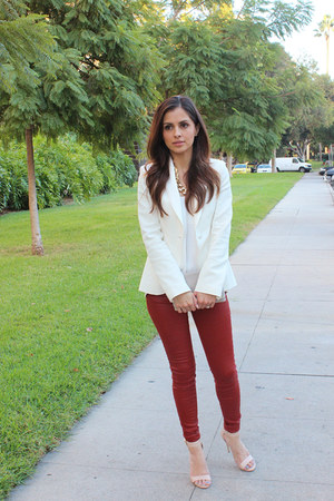 white Zara blazer - white H&M top - brick red Zara pants