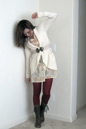 white Urban Outfitters cardigan - beige Urban Outfitters dress - red Urban Outfi