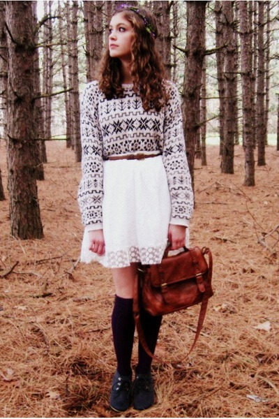 off white vintage sweater - white Forever 21 dress - purple Target tights