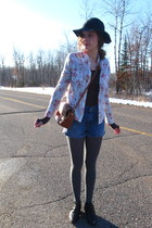 black thrifted vintage boots - gray Mossimo tights - burnt orange vintage bag -