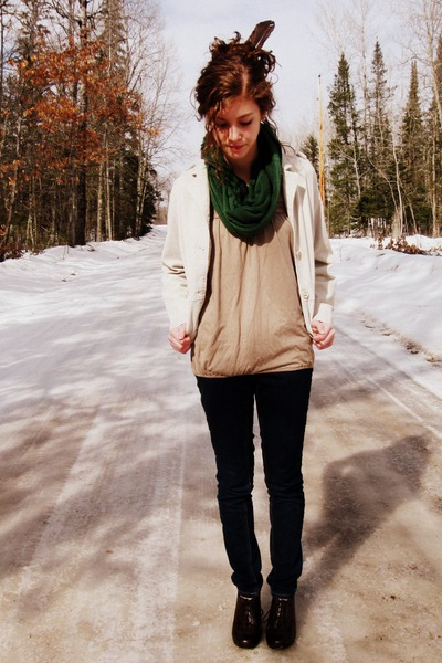 navy Mossimo jeans - beige outer edge jacket - dark khaki Gap top