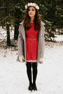 Ruby-red-handmade-vintage-dress-silver-vintage-coat