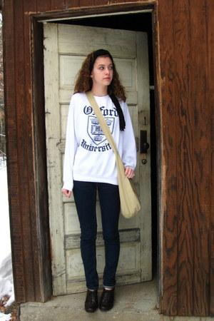 navy Mossimo jeans - black Mossimo scarf - tan Walmart bag - dark brown Target h