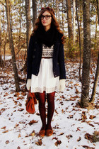 black Tulle scarf - navy Target coat - off white vintage sweater