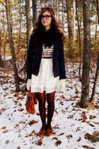 black Tulle scarf - navy Target coat - off white vintage sweater