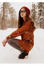 Burnt-orange-bird-print-asos-dress-crimson-handmade-hat