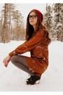 Burnt-orange-bird-print-asos-dress-crimson-handmade-hat