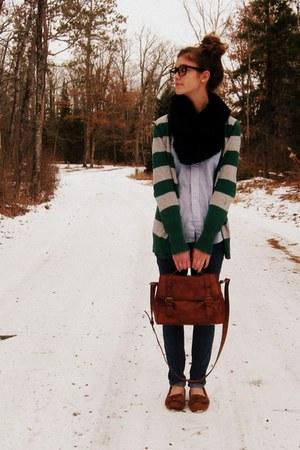 green Target cardigan - navy Target jeans - black Tulle scarf