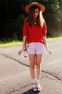 Ivory-thrifted-shorts-red-vintage-anne-klein-blouse-tan-target-heels