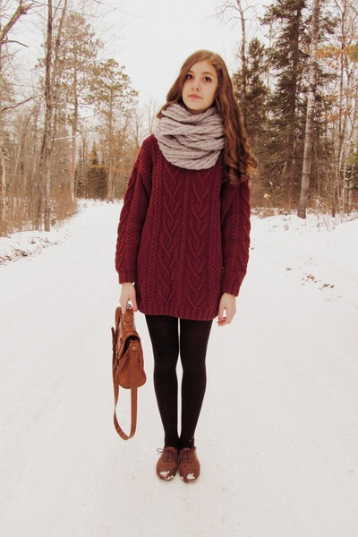 magenta thrifted sweater - black kohls tights - silver Charlotte Russe scarf