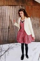 pink vintage dress - ivory Steve & Barrys blazer - charcoal gray Target tights