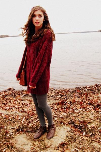 crimson sweater thrifted dress - dark brown thrifted vintage boots