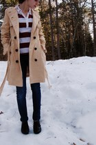 beige Tulle coat - navy Walmart jeans - brick red Mossimo top - dark brown Targe