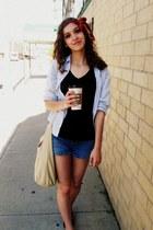ruby red vintage scarf - black unknown brand shirt - beige Walmart bag