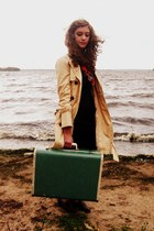 Target dress - trench Tulle coat - vintage scarf - suitcase vintage bag