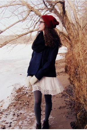 white Forever 21 dress - brown vintage boots - brick red handmade hat