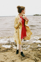 cream Tulle coat - black vintage boots - red handmade dress