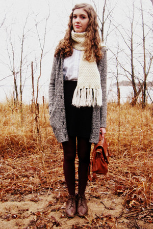 charcoal gray Target sweater - brown vintage boots - crimson Target tights