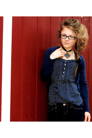 navy jeans - navy shirt - black necklace - watch - eggshell ring - black glasses