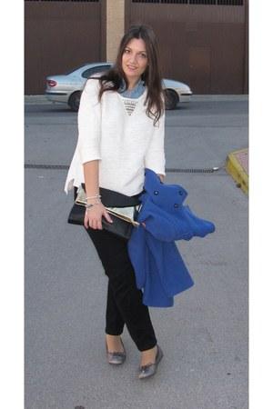 blue Zara coat - silver Tommy Hilfiger shoes - black Stradivarius bag
