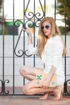 BLANCO bag - Bershka blazer - Zara shorts - Claires sunglasses