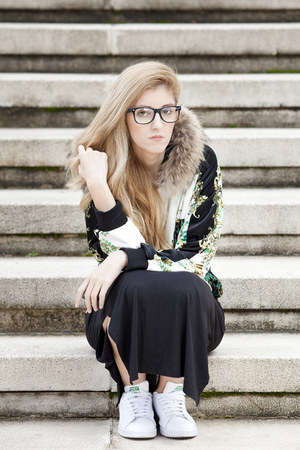 H&M dress - Gizzia sweater - Claires glasses - Adidas sneakers