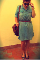 light blue denim Mango vest - black Zara shoes - brown Stradivarius bag