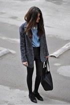 Mango coat - leather Forever 21 shorts - Massimo Dutti flats