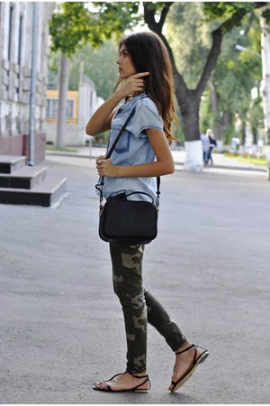 camo Zara pants - denim Zara shirt