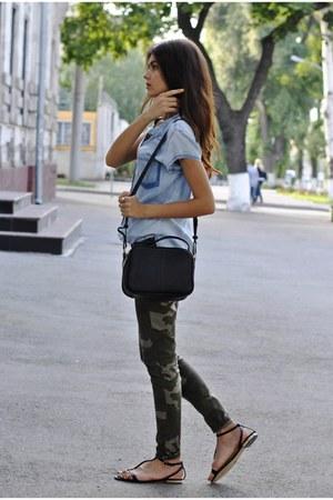 camo Zara pants - denim Zara shirt