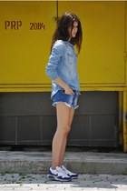 nike sneakers - denim H&M shirt - denim Zara shorts
