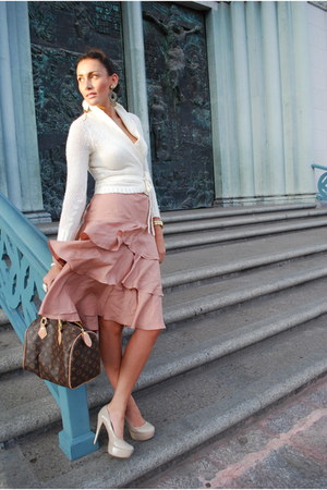 banana republic skirt - Wet Seal sweater - Louis Vuitton bag