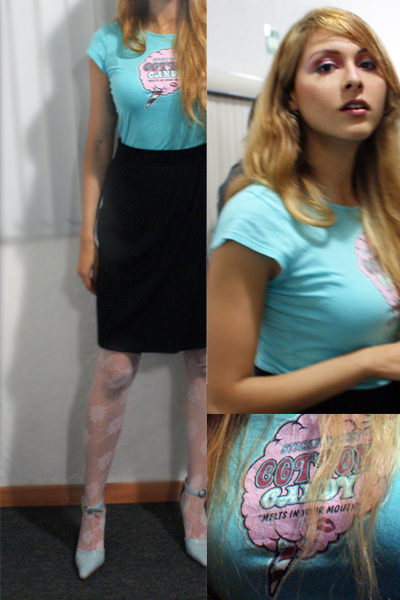 black vintage skirt - blue vintage shoes - blue papaya shirt - beige Topshop tig