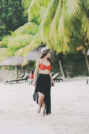 black chiffon skirt - hat - sunglasses - swimwear