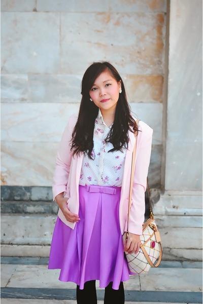 black pointy Nine West flats - light pink office Mango blazer