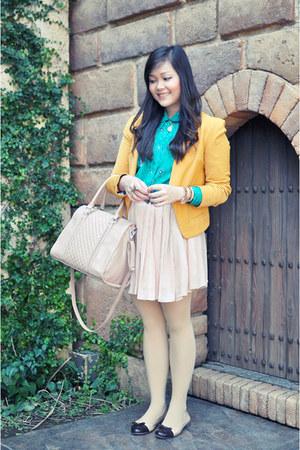 light pink quilted Mango bag - neutral chiffon OASAP skirt