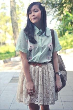 lime green short sleeved chicnova shirt - ivory lace chicnova skirt
