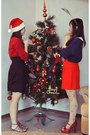 Navy-h-m-sweater-red-vintage-skirt