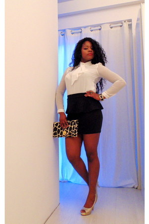 Zara blouse - Zara skirt - Nelly Studs heels - f21 bracelet - Primark ring