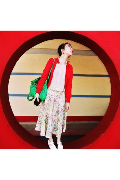 floral banana republic skirt - red f21 jacket - sheer H&M blouse